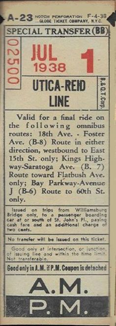 Streetcar transfer from Brooklyn & Queens (boroughs of New York City) Transit Corporation (1938)