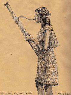 The bassoonist. Ink drawing by Antje Bednarek-Gilland.