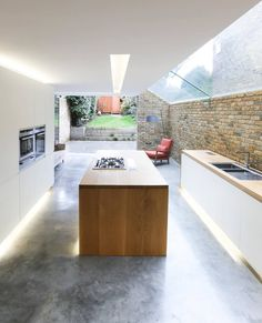 Polished Concrete Flooring Essex and London - Concrete Floor Specialists Home Design, House Roof Design, House Extension Design, Polished Concrete Kitchen, Polished Concrete Flooring, Home Decor Kitchen, Kitchen Interior, Home Kitchens, Open Plan Kitchen Diner