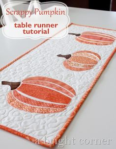Scrappy Pumpkin Table Runner tutorial from A Bright Corner