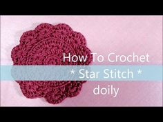 スタークロッシェ * ドイリー コースターの編み方 * ( 円形 ) / How To Crochet * Star Stitch doily * ( circle ) Crochet Star Stitch, Crochet Stars, Crochet Round, Crochet Flowers, Crochet Stitches Patterns, Crochet Motif, Diy Crochet, Stitch Patterns, African Flowers