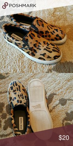 Steve Madden leopard loafers Brand new hair on calf slip on loafers with leopard pattern. Size 6. Last pair?? Steve Madden Shoes Flats & Loafers