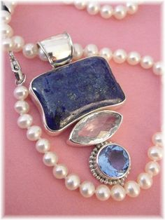 White Pearls & Lapis ~ Custom Sterling Lapis Blue Quartz Pendant ~ Honora Iridescent White Pearl Necklace - FREE SHIPPING IN USA