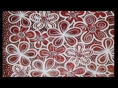 Painting a Gelli Print - Red & White Flowers - YouTube. This is a stunning way to doodle on a Gelli print using a thin brush and white paint