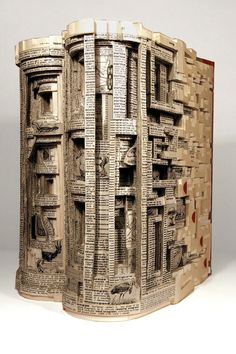 Cut book sculptures by artist Brian Dettmer.