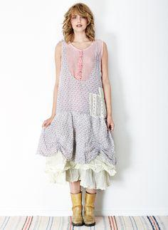Ewa i Walla Весна-Лето 2015 Mori Girl Fashion, Cute Fashion, Fashion Outfits, Blue Flower Dress, Flower Dresses, Boho Chic, Estilo Harajuku, Romantic Outfit, Romantic Clothing