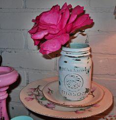 Painted Mason Jar / Wedding Decor / Rustic / Aqua blue / White / Cottage Chic / Shabby Chic Decor. $5.00, via Etsy.