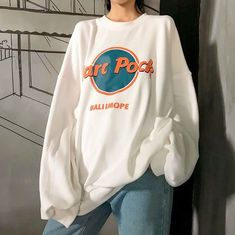 Harajuku Harc Pock Printed Fleece Sweatshirt - Harajuku Harc Pock Printed Fleece Sweatshirt The Effective Pictures We Offer You About outfits A q - Korean Outfits, Mode Outfits, Retro Outfits, Grunge Outfits, Trendy Outfits, Vintage Outfits, Fashion Outfits, Fashion Women, Big Shirt Outfits