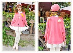 6折冬裝新款韓版減齡可愛卡通皇冠兔子蝙蝠袖寬松粉色大毛衣外套-淘寶網