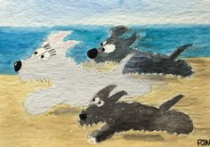 ACEO Original Watercolour Archy, Sophie and katie The Race Scottish Terriers | eBay