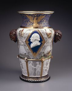 Century Vase. Designed by Karl L. H. Müller (American, born Germany, 1820–1887). Made by Union Porcelain Works (1863–circa 1922). Greenpoint, Brooklyn, 1876. Porcelain, height: 22 1/4 in. (56.5 cm), diameter of base: 10 in. (25.4 cm). Brooklyn Museum, Gift of Carll and Franklin Chace, in memory of their mother, Pastora Forest Smith Chace, daughter of Thomas Carll Smith, the founder of the Union Porcelain Works, 43.25