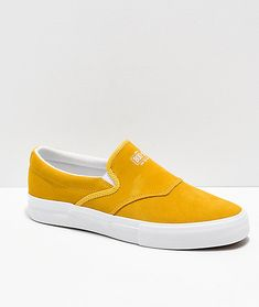 Diamond Supply Co. Boo-J Yellow Suede Slip-On Skate Shoes Diamond Supply Co, Vans Classic Slip On, Skate Shoes, Yellow, Sneakers, Fashion, Tennis, Moda, Slippers
