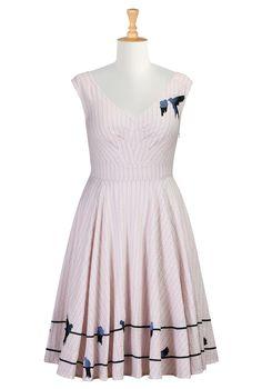 Birds On Perches Embellished Dresses, Seersucker Stripe Cotton Dresses Womens Full sleeve dresses - Shop for Empire dresses - Custom sized a...