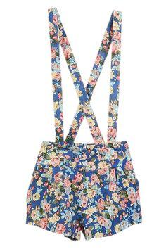 ROMWE   ROMWE Crossed Belt Floral Print Elastic Blue Playsuit, The Latest Street Fashion