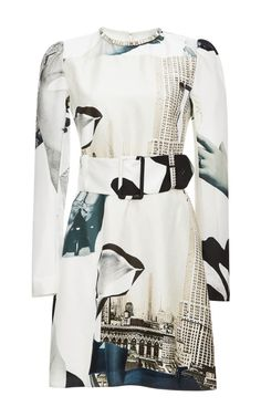 Crystal-Embellished Printed Silk-Habotai Dress by Carven Now Available on Moda Operandi