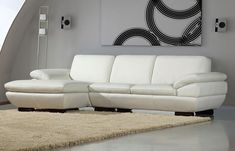 Prestige Sectional Sofa is fully upholstered in Off-White leather over padded pillow top arms, and soft cushions. Available with both left facing and right facing chaise option.