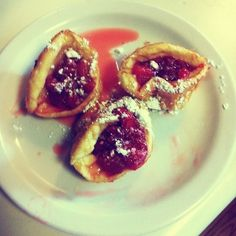 German Pancakes w/ Strawberry Sauce