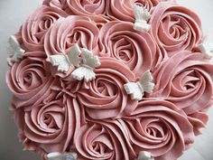rose swirl cake, i like this for a wedding cake minus the butterflies