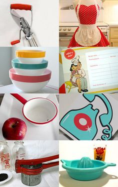 Cute retro kitchen featuring my tablecloth! --Pinned with TreasuryPin.com