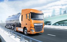 Download wallpapers DAF XF, trucking, truck tractor, delivery of goods, transportation of gasoline, DAF