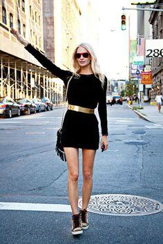 black dress and gold metallic bold
