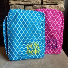 I'm loving these fresh colors chosen for the monogrammed Bible/book covers!