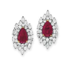 A PAIR OF RUBY AND DIAMOND EAR CLIPS, BY VAN CLEEF & ARPELS