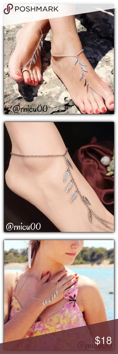 "🆕Boho Leaf Barefoot Silver Sandals or Bracelet! Your Spring Break & Summer Beach Destination Perfect Boho Accessory!! These Barefoot Leaf Sandals Will look Amazing on the Beach!! See 3rd pic how this can also be worn on your arm!  - Listing is for a ""PAIR""- That means 2!  - Bundle with other Boho accessories & Save!  ➖Prices Firm, Bundle for Discount ➖""Trade"" & Lowball Offers will be ignored ➖Sales are Final, Please read Description & Ask Any Questions! Boutique Jewelry Bracelets"
