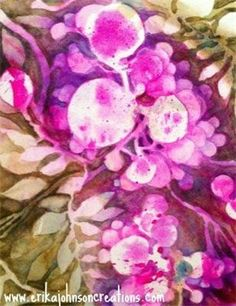 Berry Blliss : Water color-floral art-contemporary art-water color painting-pink berries-www.erikajohnsoncreations.com-Mississippi-American Artist-Contemporary Artist-Modern art
