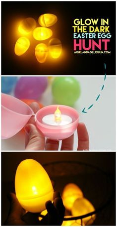 try this fun twist on easter egg hunt--glow in the dark! great for kids and teens or even as a centerpiece on your Easter table
