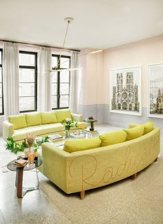 Elle Decor Best Living Rooms Room Package Deals Brisbane 699 Images In 2019 A Gorgeous Tribeca Features Custom Chartreuse Sofas That Make Bold Statement Romo