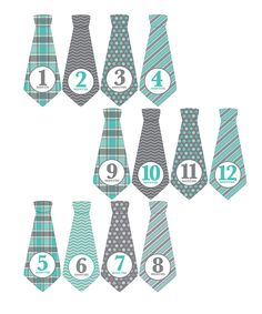 Love this Penny & Prince Gray & Teal Tie Monthly Baby Sticker - Set of…