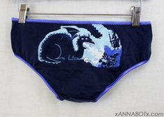 Medium  Blue Dragon  Low Rise Panties Knickers Briefs by xannabotx, $12.00