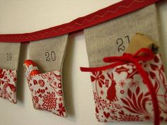 Advent calendar bunting 24 linen flags with by SewSweetViolet, £59.90