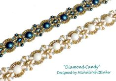 """""""Diamond Candy"""" Needlelwork Bracelet uses the latest 2 hole beads. Learn how to create this elegant design using Czech Candy 2 Hole Beads, 2 hole Diamon Duo, 2 Hole Mini Superduo, embellished with Czech Pearls & variety of Miyuki sized seedies. The bracelet sits silky smooth to wear."""