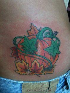 custom original design pumpkin leaves vine tattoo albert jeffers