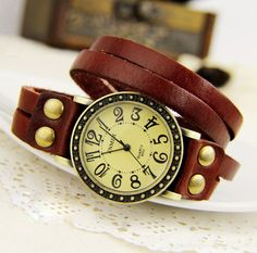 Retro wrap Twining Leather Bracelet Watch-red