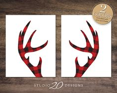 Instant Download 2 Set Antler Gingham Art Posters, Red Plaid Deer Lumberjack Pattern, 8x10 Home Decor, Wedding Gift, Home Decor Prints #48A