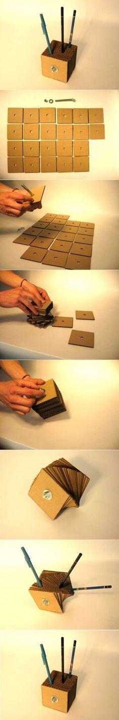 DIY Fun Cardboard Pen Holder DIY Fun Cardboard Pen Holder by diyforever