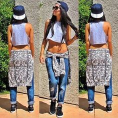 Boyfriend Jeans. Midriff. Snapback Outfit. Swag. Dope. Urban Fashion. Hip Hop Outfit. Hip Hop Fashion. Sneakers Outfit. Trill #hiphopoutfits