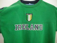 7689fdb81de Ireland Jersey Large Soccer T Shirt Stitched Flag Green Cotton Retro  Classics