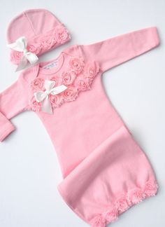Baby girl Pink Gown and headband or hat pale pink Shabby flowers with White satin bow and pearls Newborn Take me Home Outfit on Etsy, $34.00
