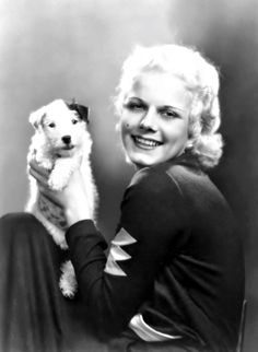 Jean Harlow and pooch 1930