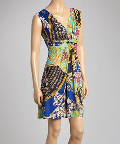 Look at this #zulilyfind! Blue & Gold Status Ruched V-Neck Dress #zulilyfinds