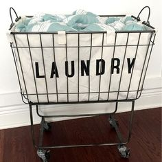 Fabric Lined Metal Rolling Laundry Cart