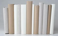 linen kraft and white wrapped books