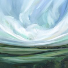 """Lush and earthy, """"I Fell in Love with the Fields"""" is a celebration of land and wind, grass and breeze. This landscapes features deep fields, full of rich shades of green and deep earth-colors and fresh, energetic skies.   Printed on wonderful flat fine art quality printing canvas with a"""