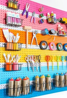 craft room organization / craft room ideas - craft room organization - craft room storage - craft room design - craft room - craft room office - craft room ideas on a budget - craft room decor Craft Room Storage, Craft Organization, Storage Ideas, Wall Storage, Pegboard Craft Room, Garage Storage, Hang Pegboard, Pegboard Display, Art Studio Storage