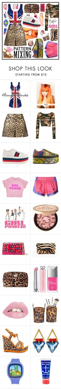 """""""Spice Girl inspired pattern mixing!"""" by beanpod ❤ liked on Polyvore featuring RED Valentino, WearAll, Gucci, adidas, Too Faced Cosmetics, Sergio Rossi, Christian Louboutin, Dolce&Gabbana, Christian Dior and 2 Lips Too"""