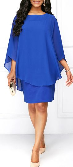 Round Neck Royal Blue Overlay Dress.